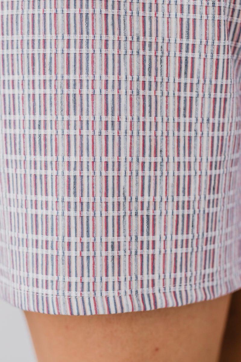 Red & Ivory Striped Romper