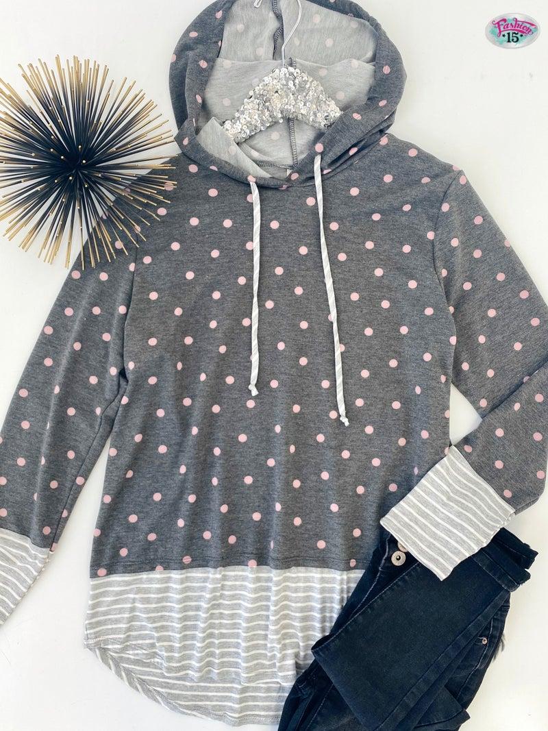 .~Charcoal Hoodie w/ Polka Dots & Stripes