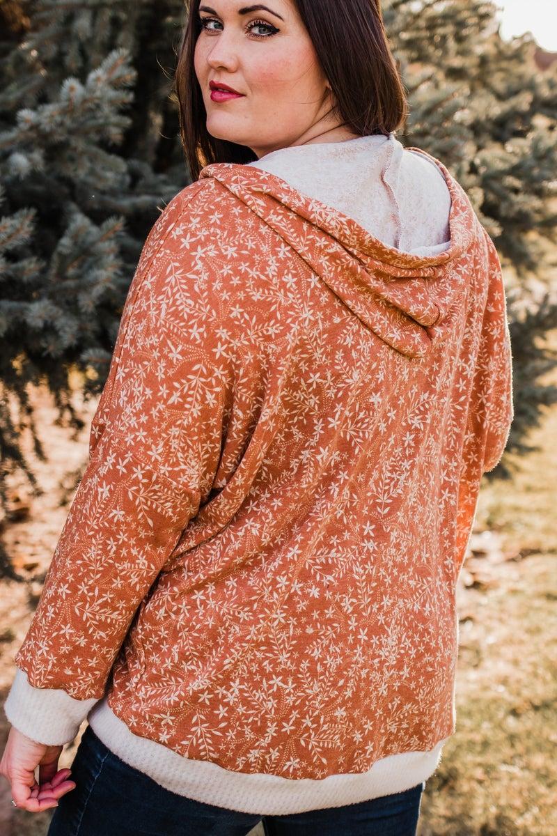~.Super Soft Floral Print Hoodie
