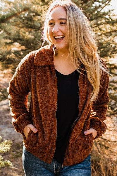 .Super Soft Copper Brown Jacket w/ Zipper