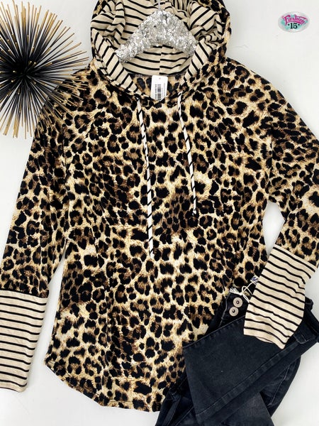 .~Stripes & Animal Print Hoodie