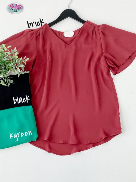 ~Solid Butterly Sleeve Top