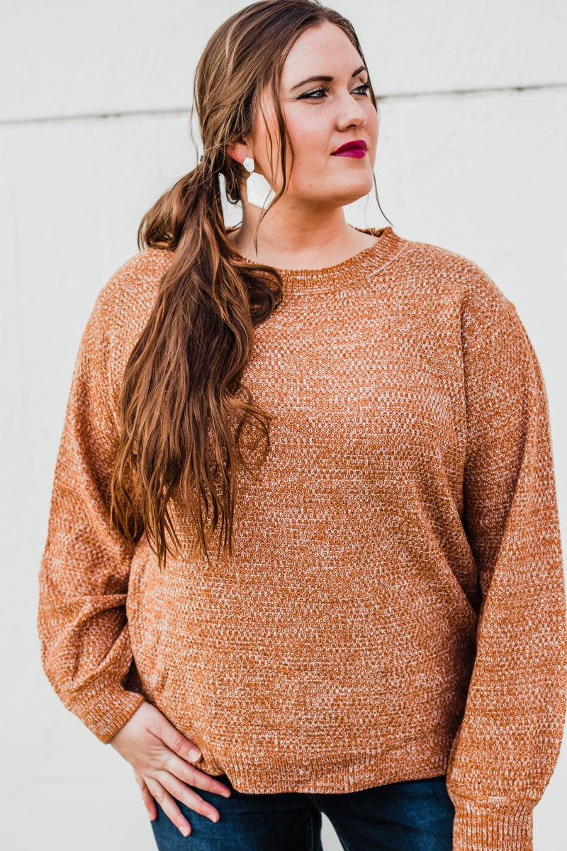 Plus Melange Balloon Sleeve Sweater