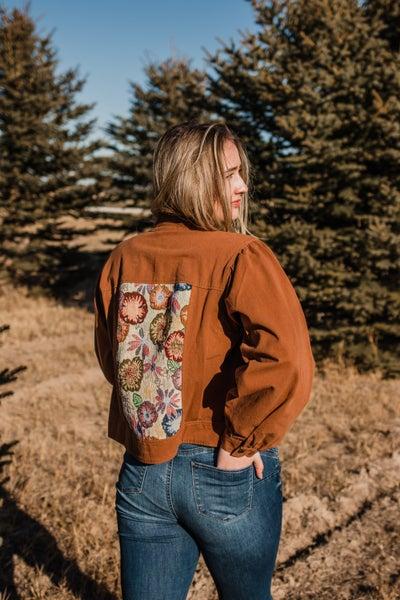 .Camel Zip-Up Jacket w/ Floral Detail