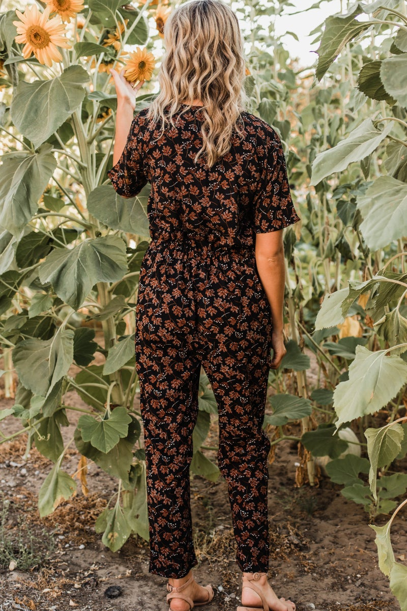 Black & Rust Floral Jumpsuit