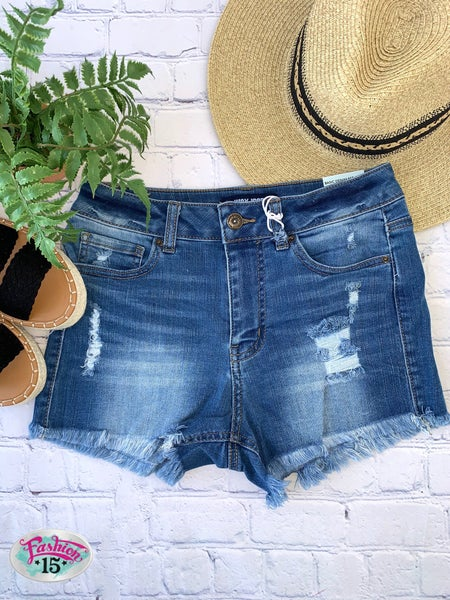 Light Washed Distressed Shorts