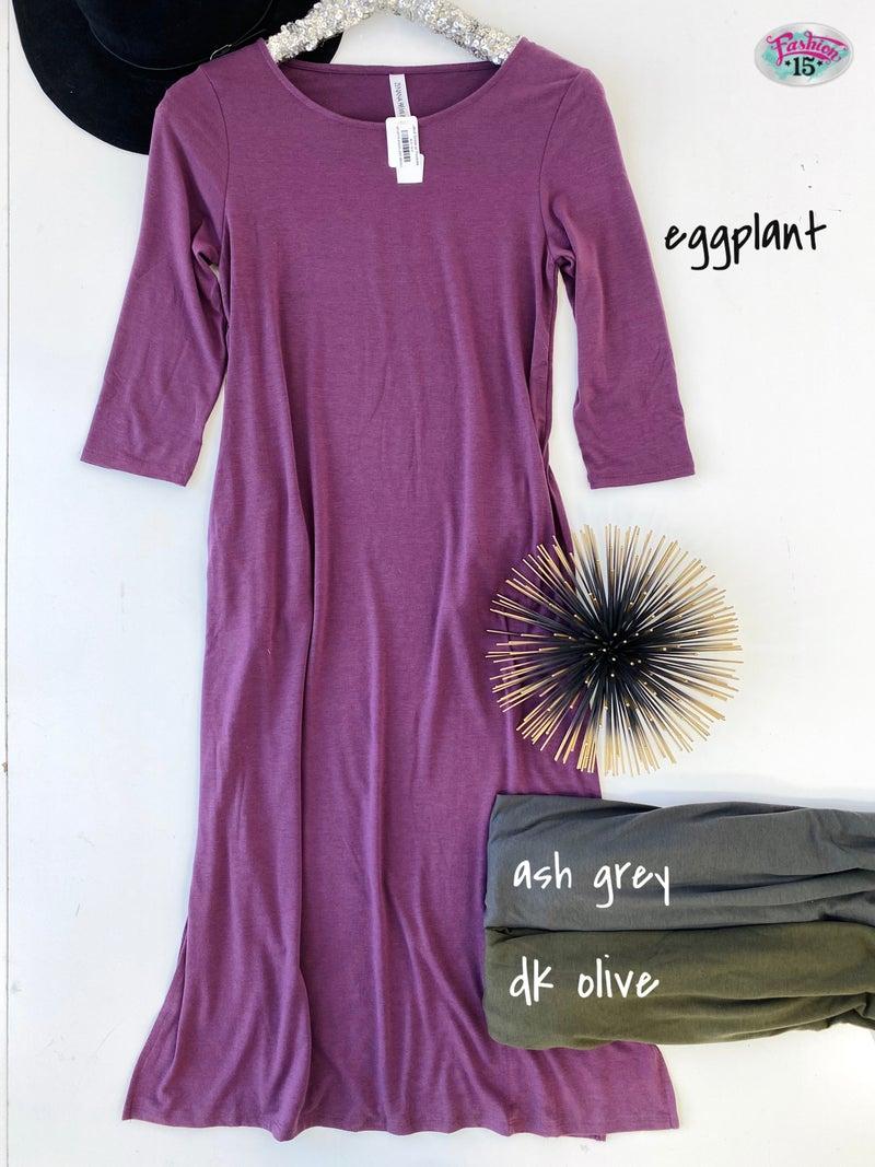 ~.Midi Dress w/ Pockets *Final Sale*