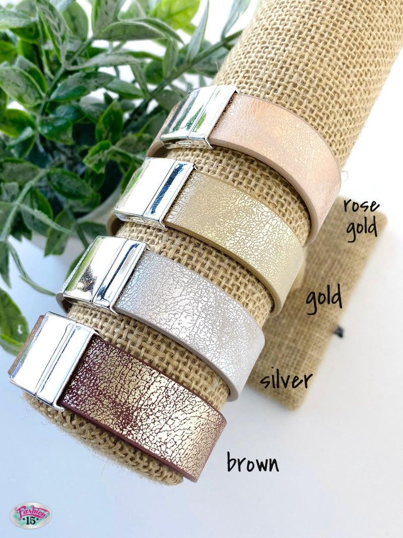 .Leather Magnetic Bracelet
