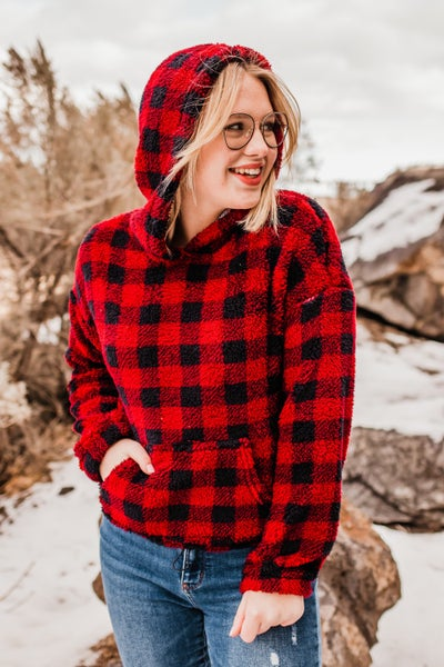 .Buffalo Plaid Sherpa Pullover w/ Hem Drawstring