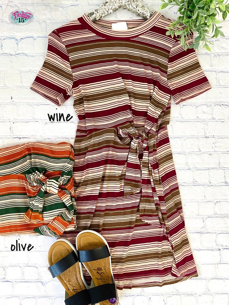 Striped Ribbed Dress w/ Tie
