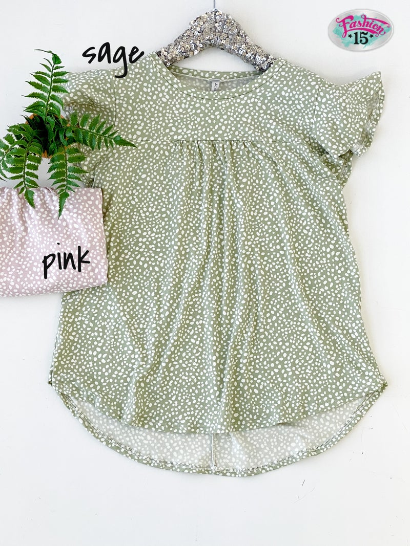 ~Spotted Butterfly Sleeve Top