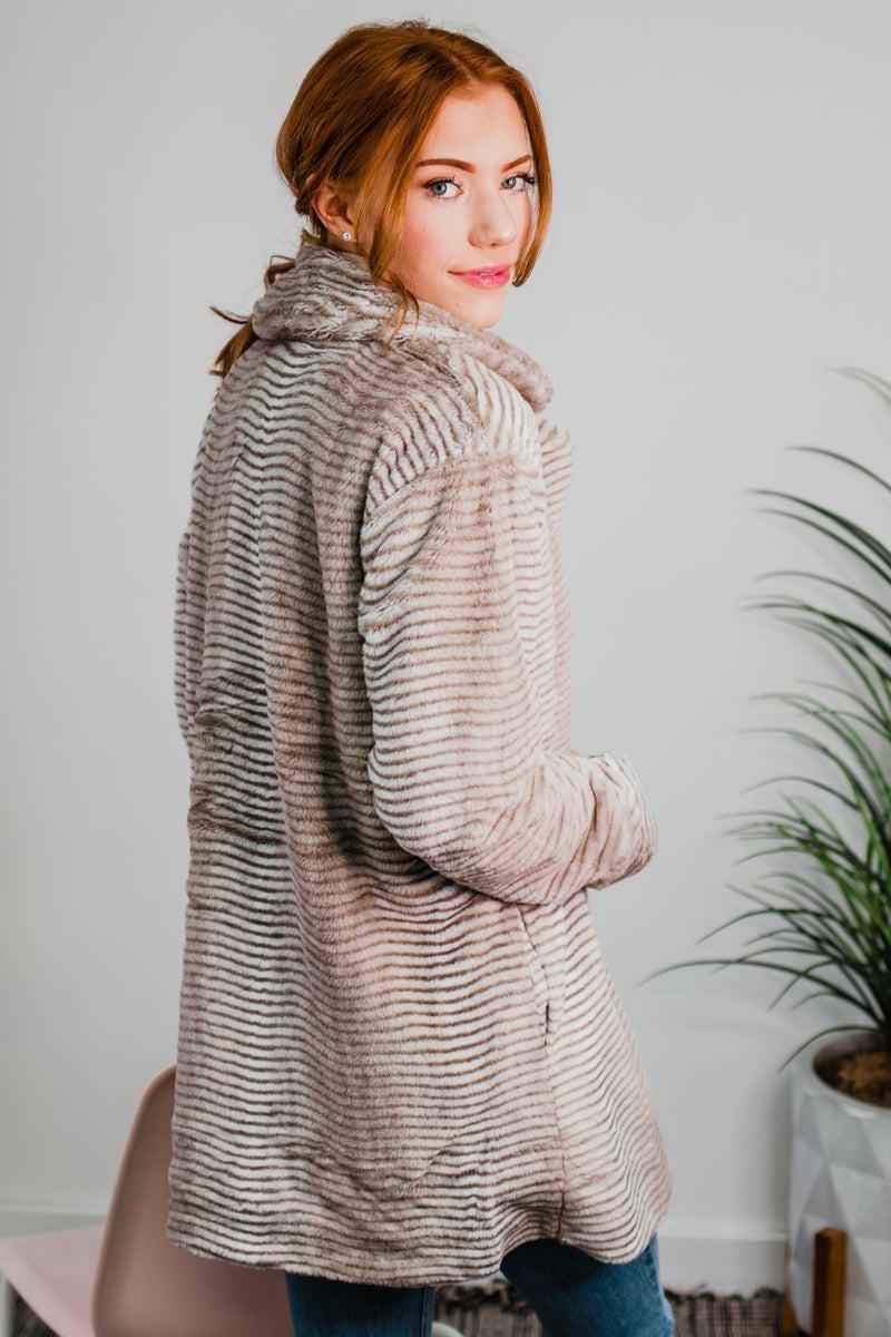 .Faux Fur Striped Jacket