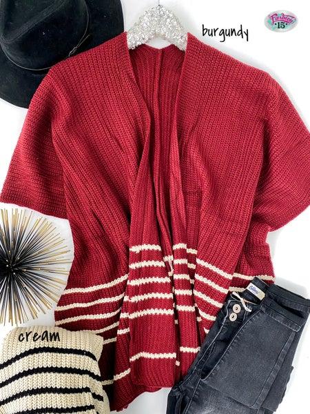 Knit Kimono w/ Striped Detail