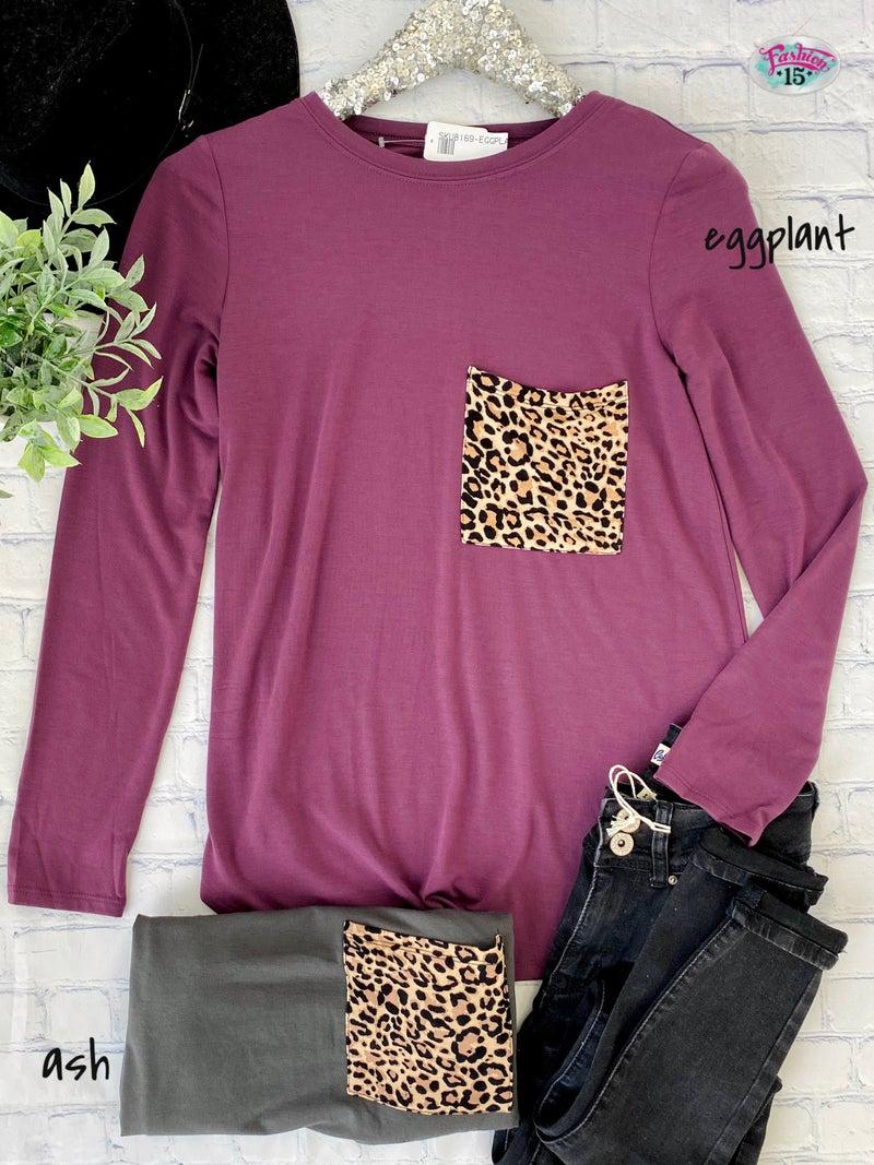Long Sleeve Top w/ Animal Print Top