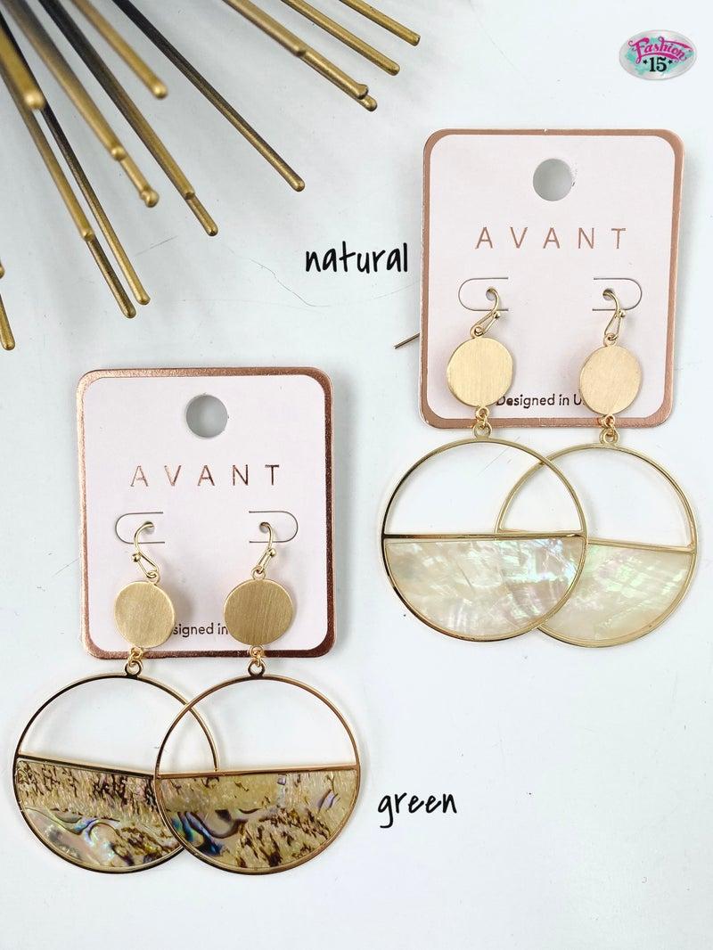 .Half Round Abalone Earrings