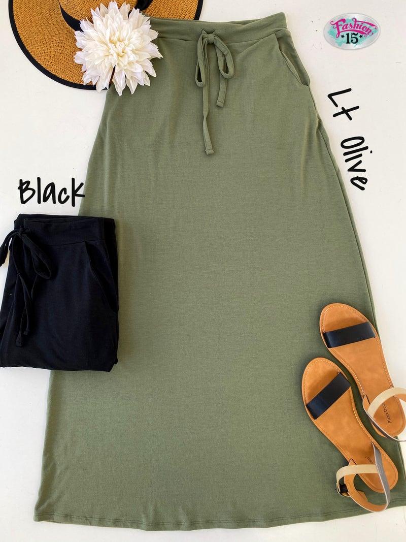 Solid Maxi Skirt w/ Drawstring
