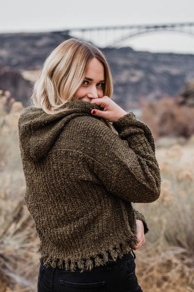Knit Hoodie w/ Fringe