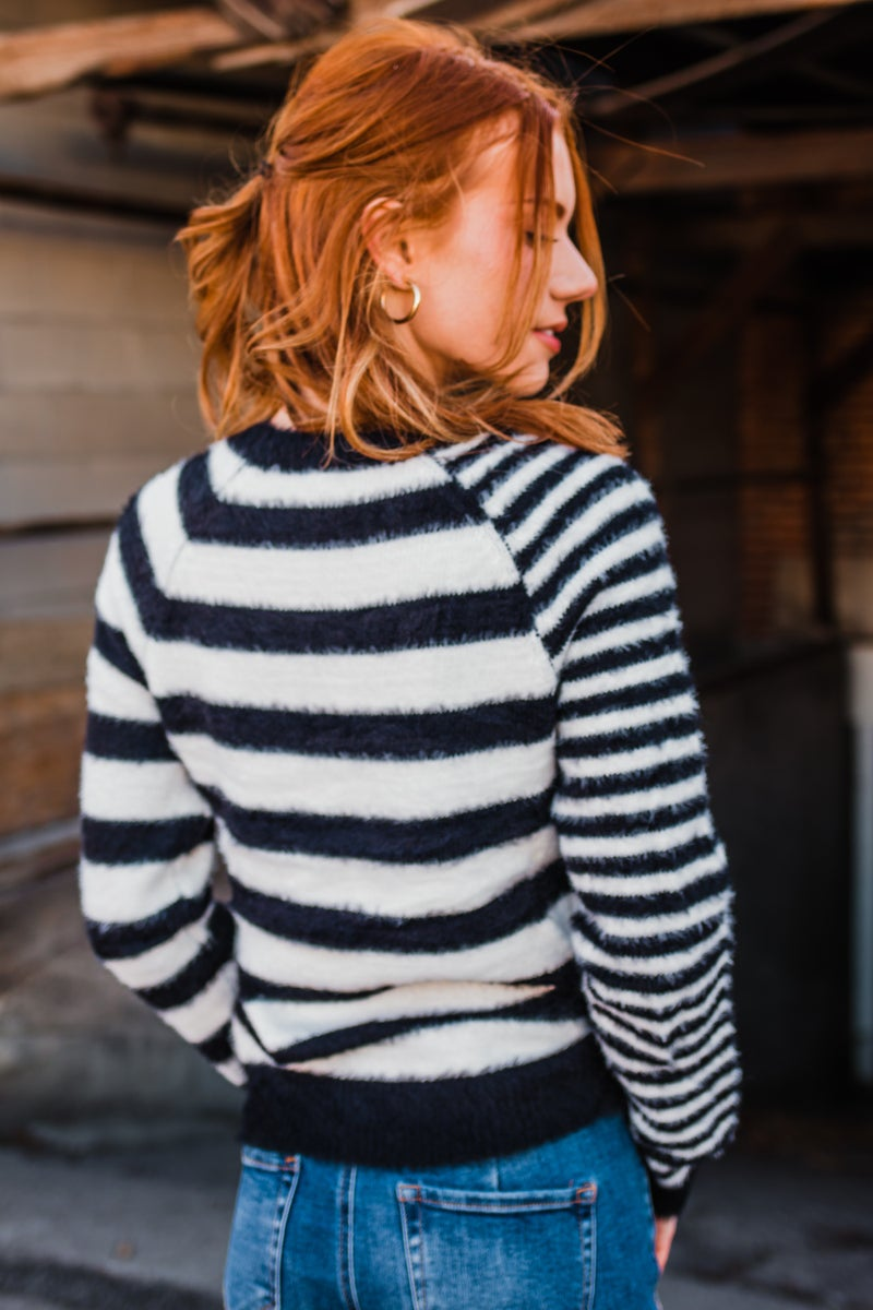 .Black & White Striped Top