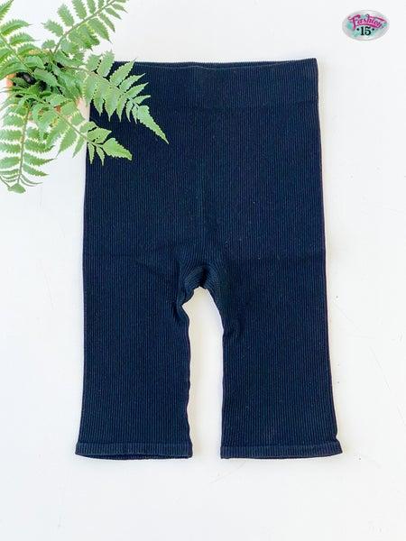 Solid Black Ribbed Spandex Shorts