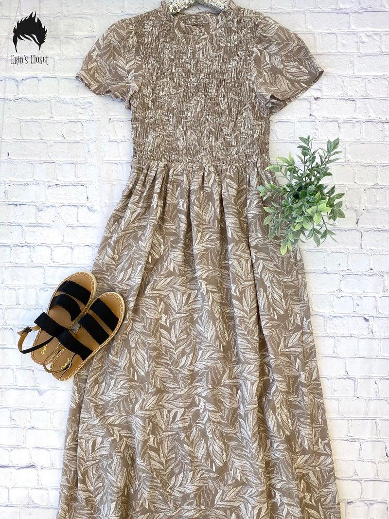 *Erin's Closet* High Neck Taupe Dress