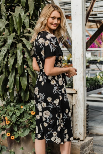 Black & Taupe Floral Maxi Dress
