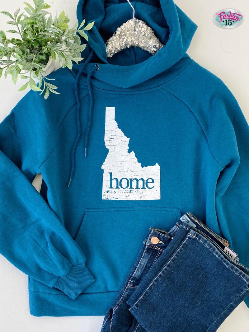 Crossover Teal Idaho Home Hoodie