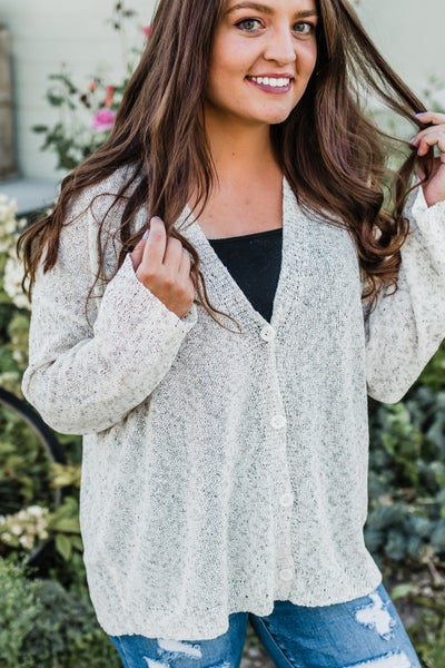 Speckled Ivory Button-Up Cardigan