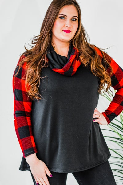 Plus Buffalo Plaid Cowl Neck Top