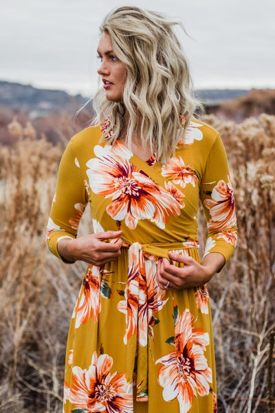 Mustard Floral Maxi Dress