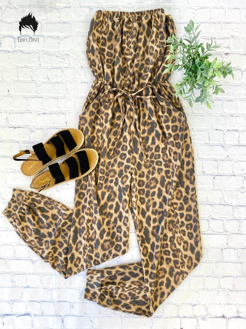*Erin's Closet* Strapless Animal Print Jumpsuit