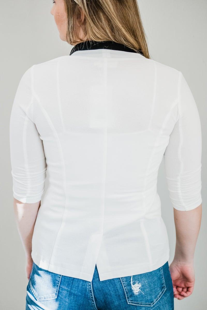 Off White 3/4 Sleeve Blazer