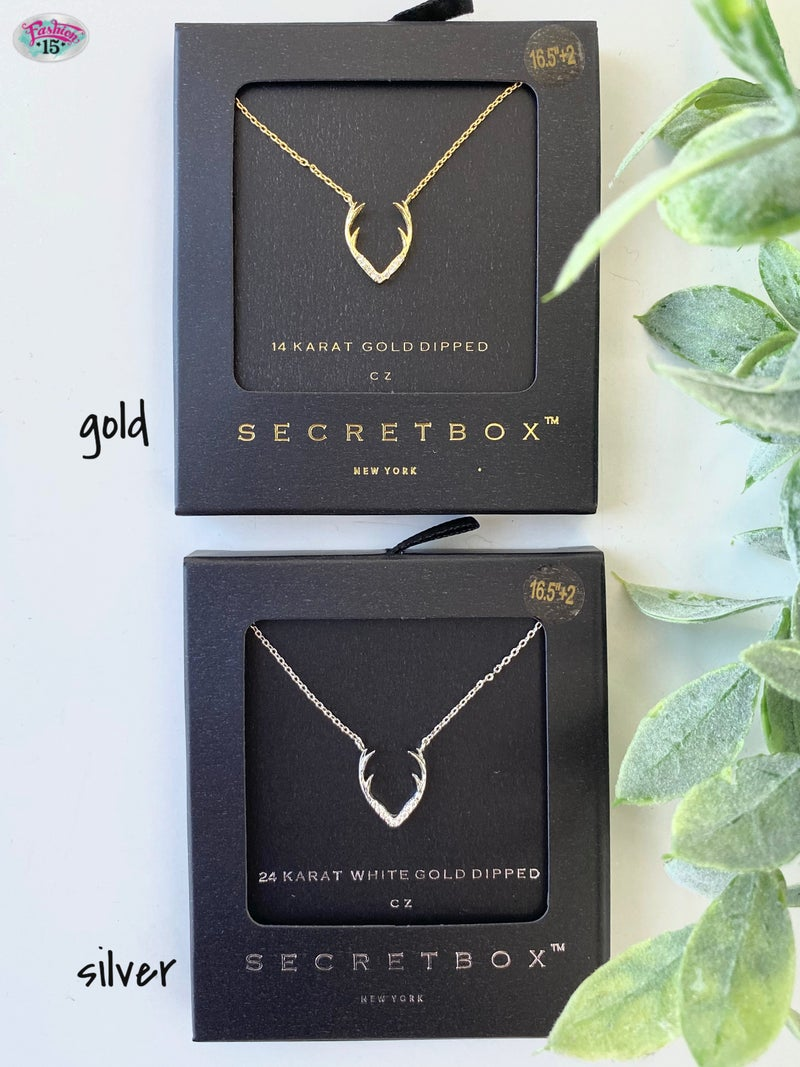 .Gold Dipped Antler Necklace