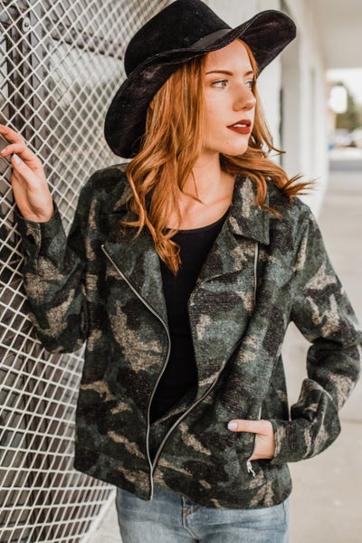 *.Erin's Closet* Army Camo Bomber Jacket *Final Sale*