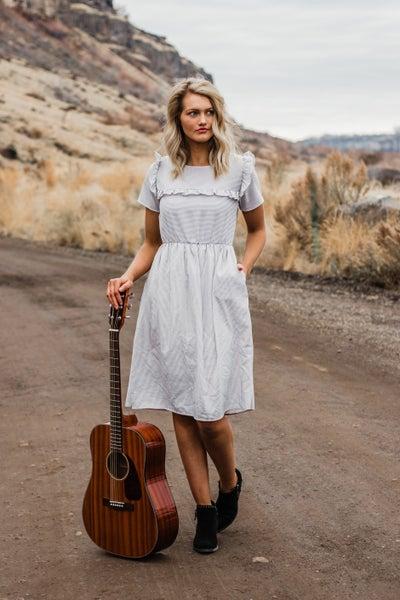 Grey & Ivory Striped Dress w/ Ruffle