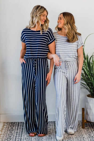 *Erin's Closet* Striped Jumpsuit *Final Sale*