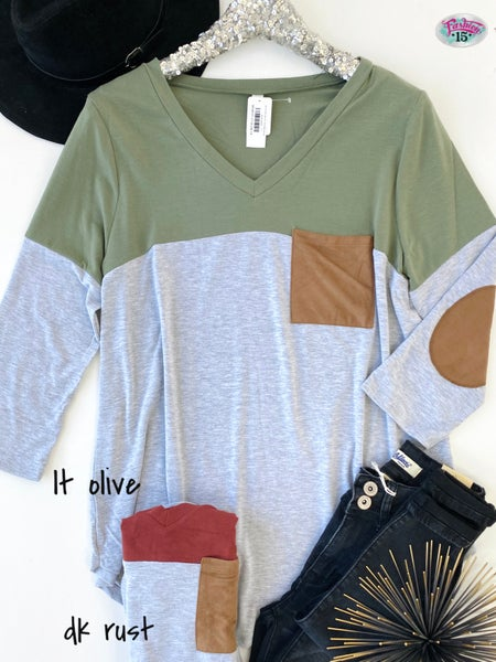 Plus Color Block V-Neck Top w/ Elbow Patch *Final Sale*