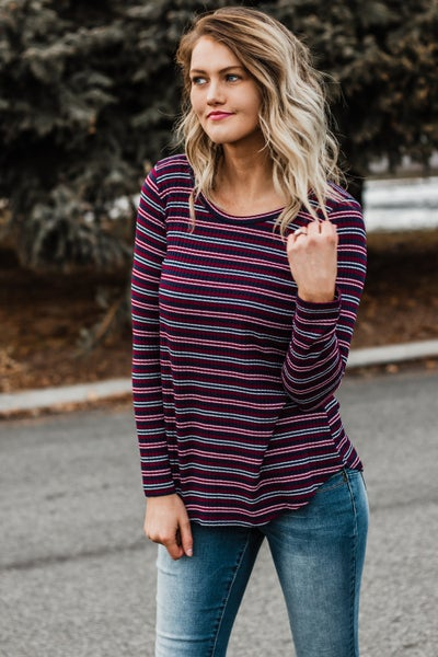 Navy & Wine Striped Top