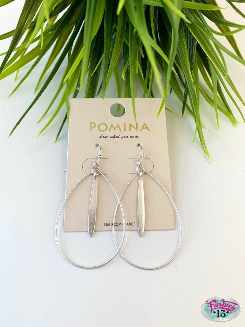 Silver Teardrop Dangle Earrings