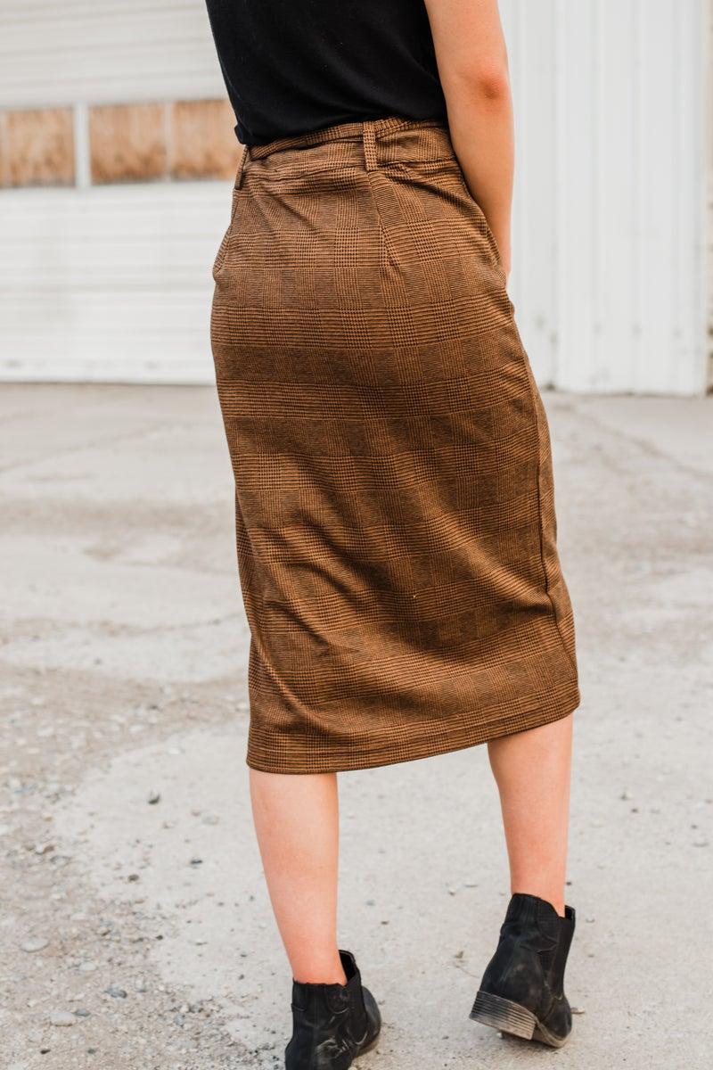 Mocha & Black Skirt w/ Buttons & Tie