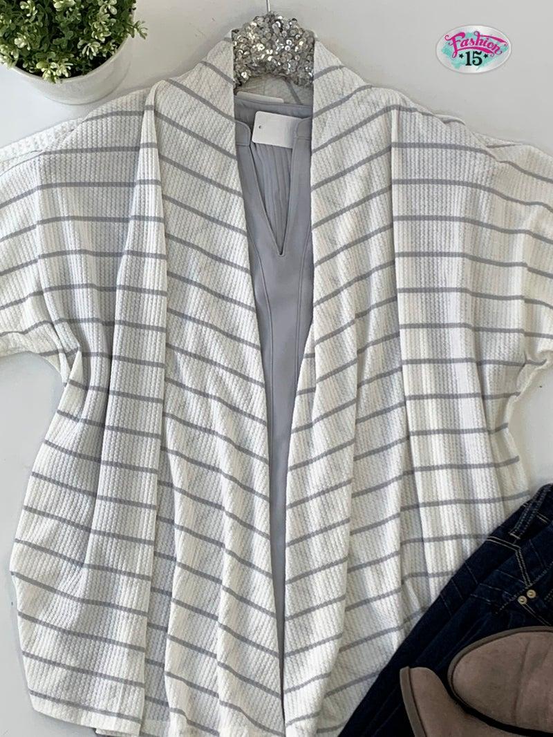 Ivory Striped Waffle Knit Cardigan