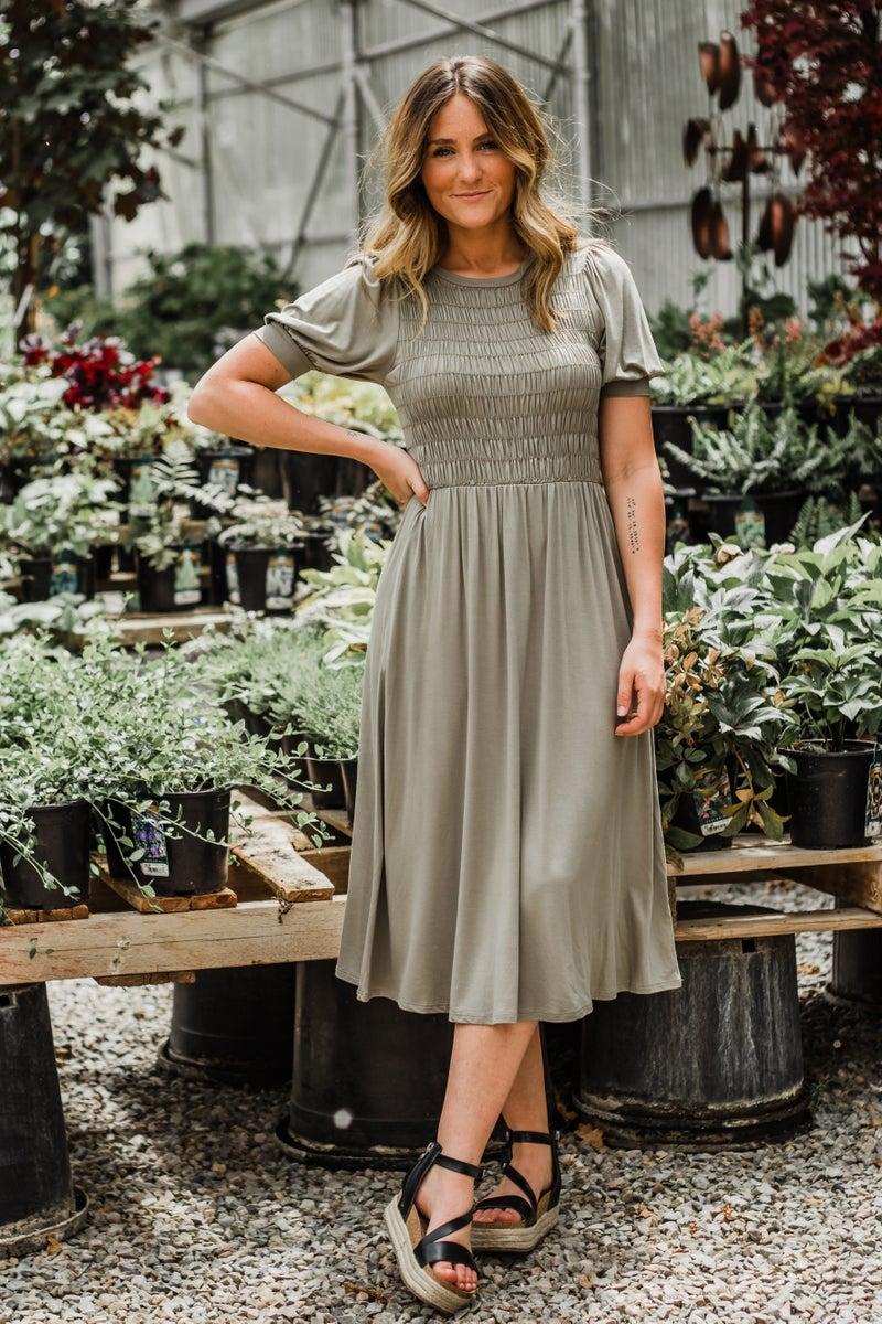 Olive Dress w/ Shirring