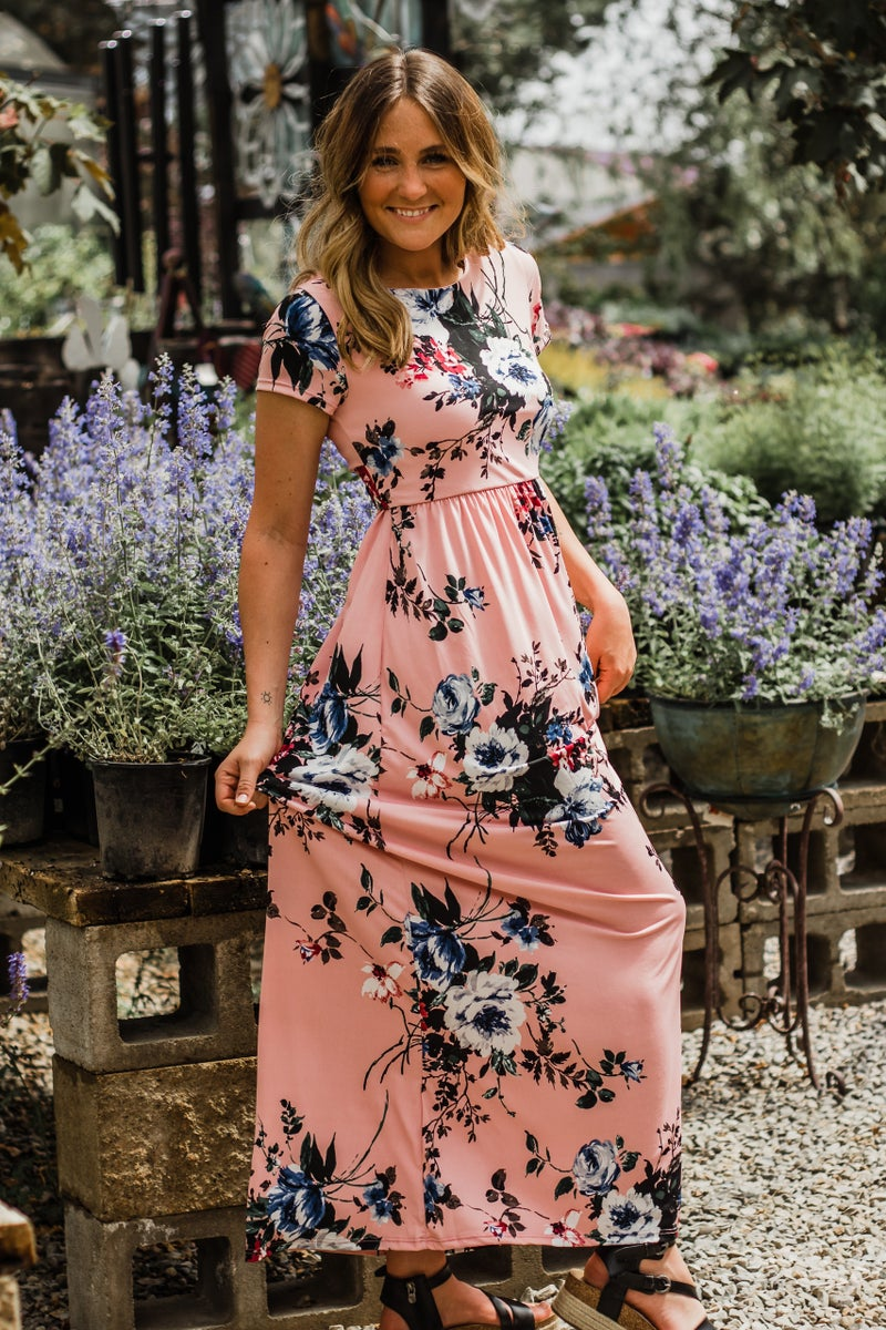 Pink Floral Maxi Dress w/ Cross Over Back