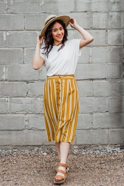 Mustard & Ivory Striped Skirt w/ Buttons