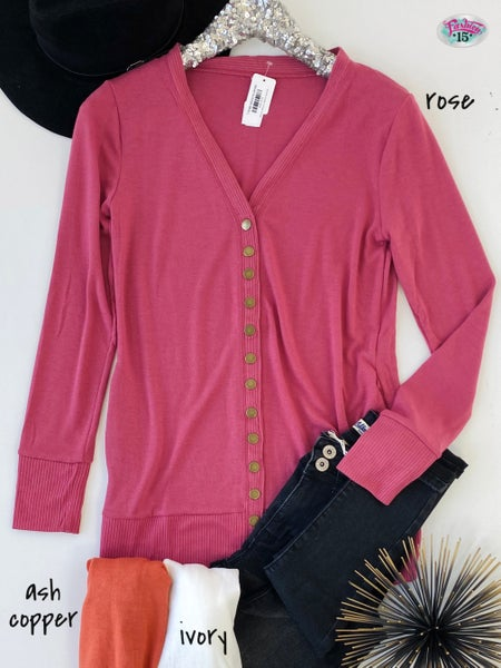 Snap Button Cardigan w/ Pockets *Final Sale*