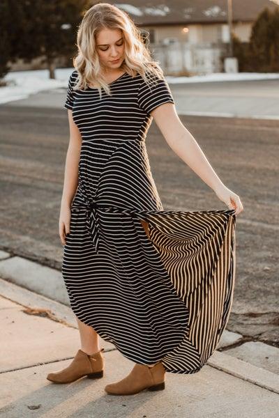 Layered Navy & Ivory Striped Dress w/ Tie