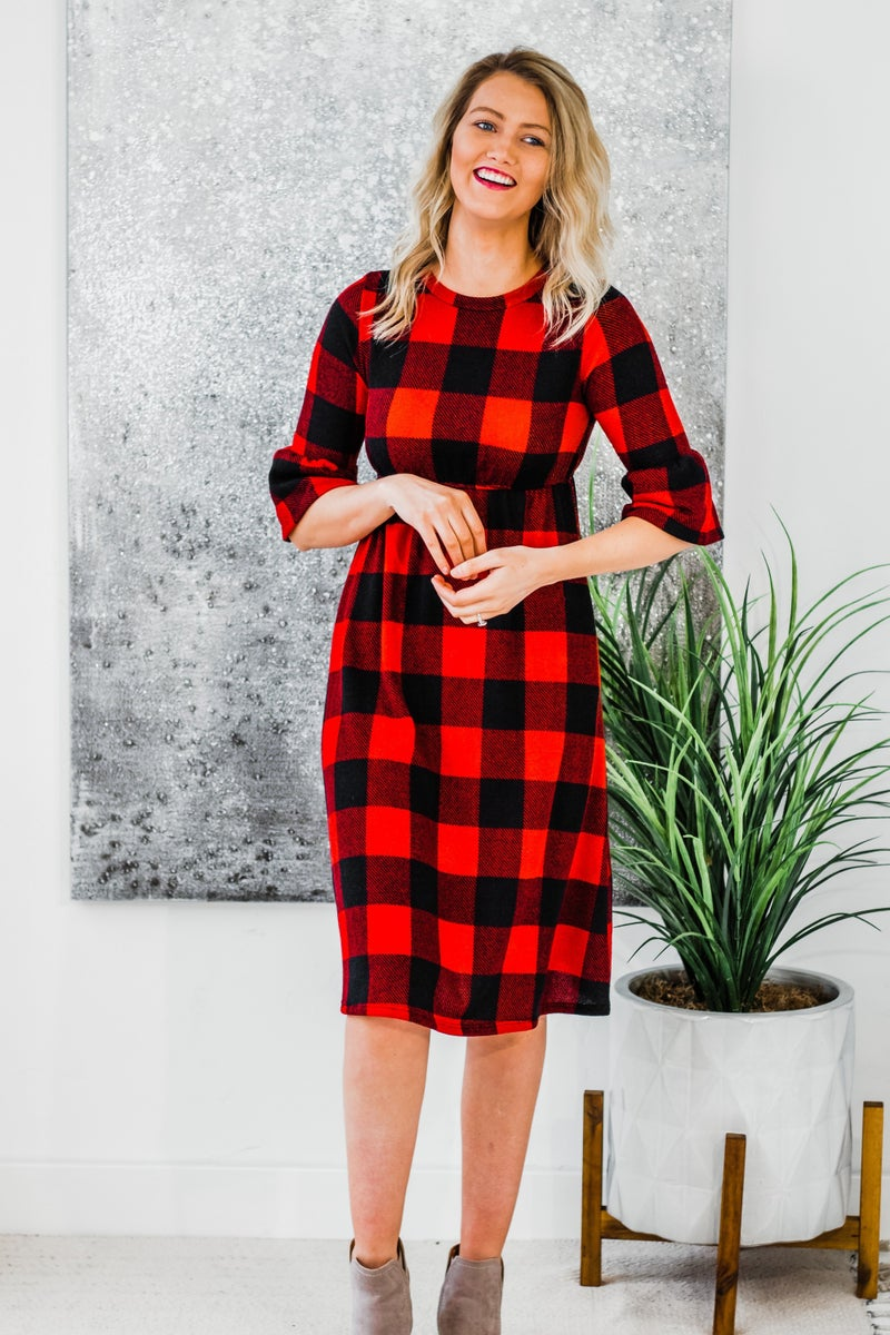 Plaid Dress w/ Bell Sleeves