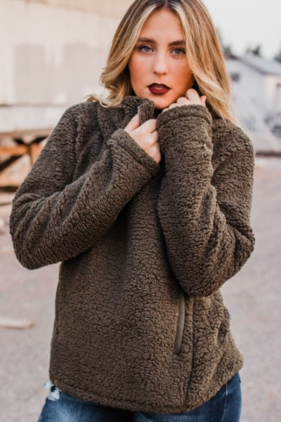 Olive Sherpa Pullover