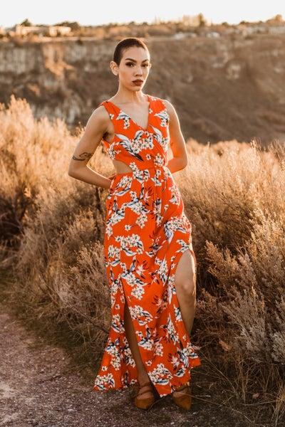 Citrus Floral Dress w/ Peek-A-Boo Back