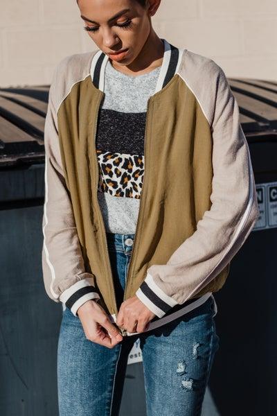 Olive Varsity Zipper Jacket