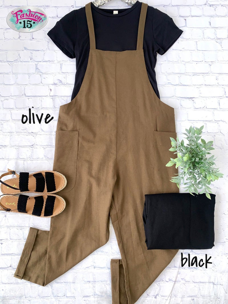 Solid Jumpsuit w/ Pockets